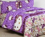 Sprei Hello Kitty Leopard Ungu