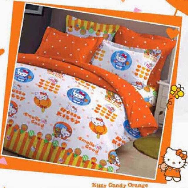 Sprei Kitty Candy Orange