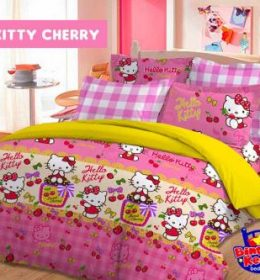 Sprei Star Kitty Cherry
