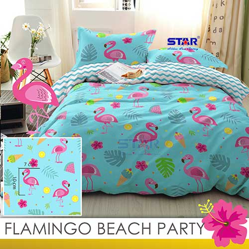 sprei-star-flamingo-beach-party-biru