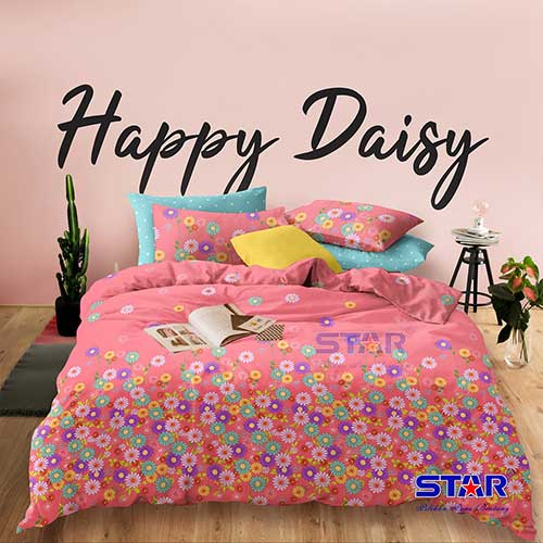 sprei-star-happy-daisy-pink