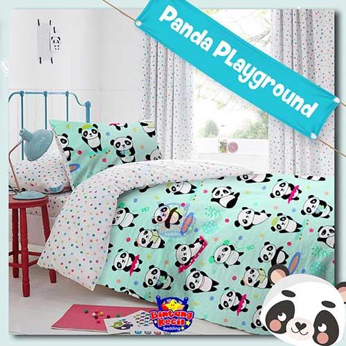 sprei-star-panda-playground-hijau