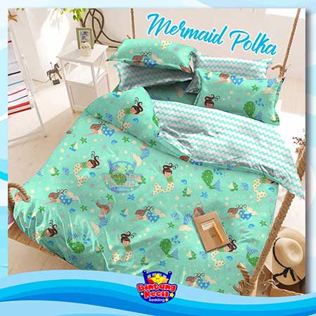 sprei-star-mermaid-polka-hijau